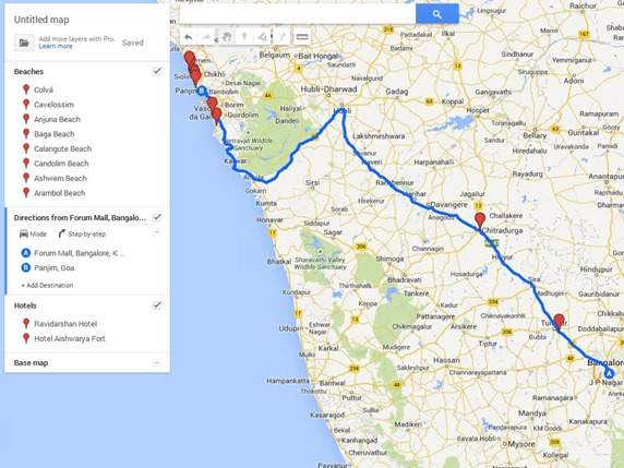 bangalore to goa custom google map